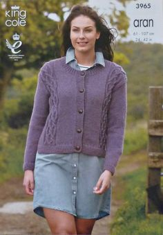 K3965 Childrens/Ladies Long Sleeve Round Neck Cable Coat Knitting Pattern Aran (Fisherman) King Cole