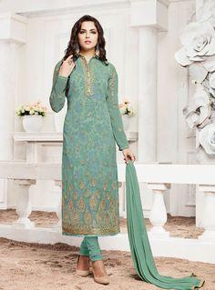 8a16ca3214bbfc Sea Green Georgette Churidar Suit 80027