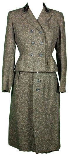 1940s Womens Medium Suit Set Jacket Skirt Business Office Casual Tweed Rockabilly Retro Glam Pin Up Winter Wool Black Outerwear Formal WWII