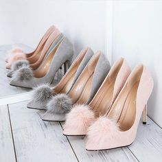 Fluffy Office Party 60s Pink Grey/Gray High Heeled Shoes by NakedlyDoll