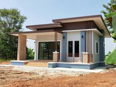 ideas exterior home styles layout Modern Bungalow House Design, Minimal House Design, Modern Exterior House Designs, Simple House Design, One Storey House, Thai House, Home Building Design, House Roof, House Layouts