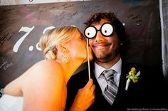Photo Booth Props Glasses On A Stick for Wedding Party  ♥ Hilarious Wedding Photo Booth Idea