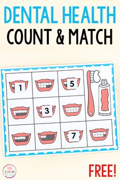 A free printable dental health theme counting activity for preschool and kindergarten. This fun math activity is perfect for your math centers. #preschool #kindergarten #mathcenters