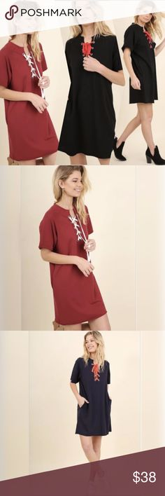 """GAME DAY DRESSES!!!!!! O.M.G. LOVE! LOVE! LOVE! Roll Tide! War Eagle! Loose fit. Comes in crimson/maroon with white laces, blue with orange laces, and black with red laces. Material is a mid-weight jersey material. Side pockets. The model is 5'9"""" and is wearing the small. Also available in dark denim colored mineral washed with navy laces in my closet. Umgee Dresses Midi"""