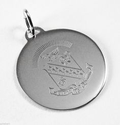 Sigma Kappa, ΣΚ, Engraved Crest Sterling Silver Charm Pendant #McCartney #PendantCharm