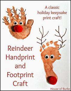 Reindeer Handprint And Footprint Craft Kindergarten Crafts - Rentier basteln Christmas Crafts For Kids, Christmas Activities, Baby Crafts, Toddler Crafts, Kids Christmas, Holiday Crafts, Christmas Handprint Crafts, Kid Crafts, Reindeer Footprint