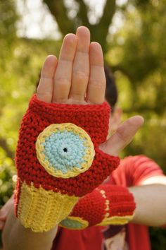 Crocheted Iron Man Fingerless Mittens ~ My boys would flip for these!!