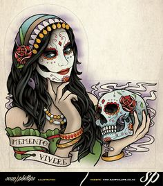 day of the dead | Sams Blog: Day Of The Dead Woman Half Sleeve Tattoo