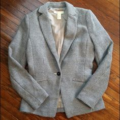 "H&M Tweed Blazer Measures 17"" across at armpits and 14"" from armpit to bottom. Shell 72% cotton/28% polyester. Lining 100% polyester. Machine wash. Great condition! No stains, snags or tears. Extra button sewn onto tag in side seam. H&M Jackets & Coats Blazers"