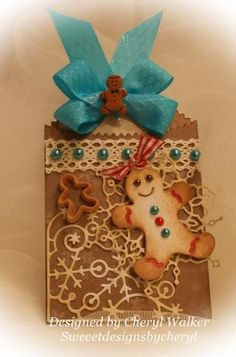 """Homemade Gingerbread Boy """"Bag & Tag"""" by cher2008 - Cards and Paper Crafts at Splitcoaststampers Great idea to use snowflake die cuts for the background !"""