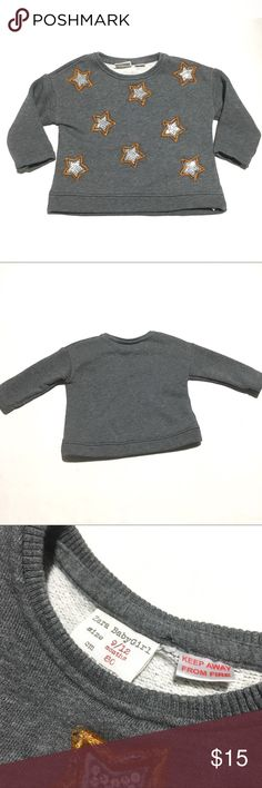 Zara Baby Gray Sweater with Stars 9-12 Months Let your little one sparkle in this festive star studded sweater. In great condition! Zara Shirts & Tops Sweaters