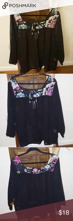 ♥️😊Sheer black top with floral design at top🌹 Beautiful black sheer top with floral design at the top and bow in front. NWT, label is size 3x, however, will fit a 2x as well.   Check out the fabulous finds in my closet. Bundle and save.  ,🛍💖😊🌹🦋 Angels Tops