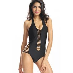 Yoins Halter Cut Out Swimsuit ($17) ❤ liked on Polyvore featuring swimwear, one-piece swimsuits, black, cut-out one piece swimsuits, cut out bathing suit, one piece bathing suits, halter bathing suit and halter top
