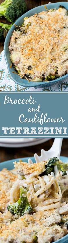 Broccoli-Cauliflower Tetrazzini - a comforting and filling vegetarian meal.