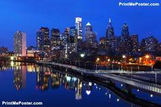 Poster of Night scene of the city of Philadelphia skyline #poster, #printmeposter, #mousepad, #tshirt