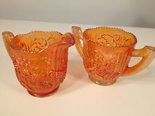 Vintage Signed Imperial Carnival Glass Marigold Pansy Sugar Creamer