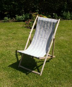 Vintage Retro DECKCHAIR Blue Candy Striped Seaside Festival Garden Chair by UpStagedVintage on Etsy