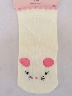 Gymboree Cute As A Mouse Girls White Mouse Socks Sz 3-6 MON NWT #Gymboree #AnkleSocks