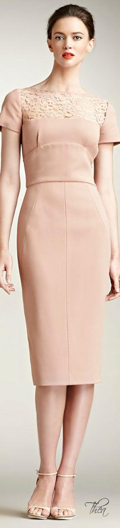 Elie Saab ● Pink Lace-yoke Dress