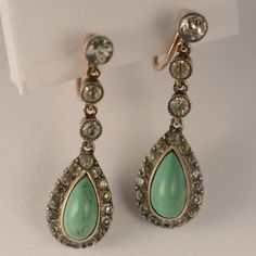 Antique Earrings Paste stones & Turquoise 9Ct gold screw back & silver Vintage