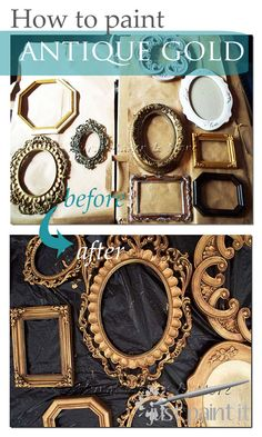 How to paint an Antique Gold Faux Finish. Easy way for faux antique gold on thrift store frames!