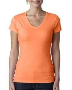 9f5275a59 Next Level Ladies' Perfect Sporty V V Neck Tee, Light Orange, Lady, Rhodes
