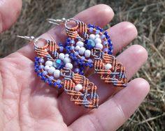 Micro macrame earrings Orange Tangerine Blue by MartaJewelry