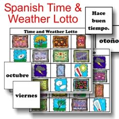 NEW for Members! Spanish Time and Weather Lotto printable game from PrintableSpanish.com