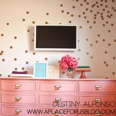 """Temporary wall peel off stickers, gold confetti circles Remember+hole-punching+a+million+little+confetti+circles+out+of+notebook+or+construction+paper+as+a+kid+and+throwing+them+in+the+air?+Now+you+can+have+your+very+own+wall+confetti+with+these+delightful+2""""+polka+dots.+Put+them+in+a+pattern+or+make+it+random.+Once+they're+up,+you+can+do+a+dance+too!..."""
