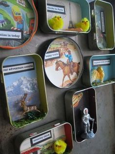 Artistic Altered Tins Roundup Try transforming tin containers into wonderful toys, diorama and decor for your home. I hope this roundup will inspire you to start tinkering with tin and mixed media art. Fun Crafts, Crafts For Kids, Arts And Crafts, Paper Crafts, Altered Tins, Altered Art, Mint Tins, Tin Art, Tin Containers