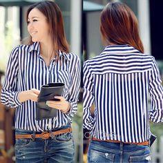 937206a7d98be4 Blusas femininas 2015 New Fashion Bluzki Koreański Styl Slim Paski Z Długim  Rękawem koszule Damskie Bluzki