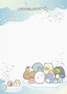 "San-X Sumikko Gurashi ""Polar Bear's Friends"" Small Memo ( Printable Scrapbook Paper, Printable Stickers, Cute Wallpaper Backgrounds, Cute Wallpapers, Memo Template, Memo Notepad, Cute Letters, Kawaii Doodles, Cute Notes"