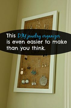 Making a jewelry organizer can be a two-minute project with burlap and a floating frame!