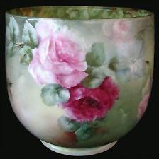 RARE Antique William Guerin Limoges, France,  Handpainted Rose Cachepot/Vase - French  c. 1891-1932