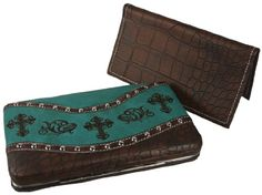 Add some western style to your wardrobe with this stylish flat wallet! The embroidered crosses lay on soft faux leather and there is a studded moc croc trim. The wallet opens on a hinge to lay flat giving you easy access to your credit cards, ID and cash. On the moc croc back side is a large pocket that can be used to store your change, slim cell phone, or MP3 player. Included with this flat wallet is a removable checkbook cover...