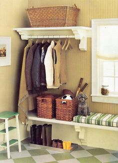 2. In this mudroom styled by Eddie Ross, a metal tray keeps dirty shoes from soiling the rest of the room. Snow will melt into the tray while mud stays contained. When needed, the tray can simply be hosed off.