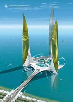 City in the Ocean in Abu Dhabi [UAE] by Jacques Rougerie Architect. http://www.rougerie.com/indexd.php #futuristicarchitecture
