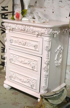 Painted Cottage Shabby Romantic Night Table by paintedcottages