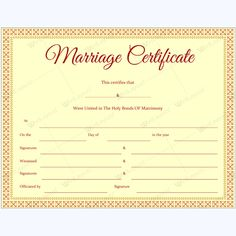 Word Marriage Certificate Template Marriage Certificate