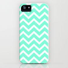 Tiffany Mint Chevron Pattern iPhone & iPod Case by RexLambo - $35.00