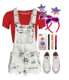 """""""Da USA"""" by highheel-hannah ❤ liked on Polyvore featuring WearAll, H&M, Mixit, Converse, Rimmel, Urban Decay, Lancôme and Casetify"""