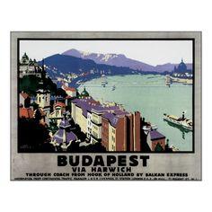Vintage Budapest Hungary Travel Poster Art