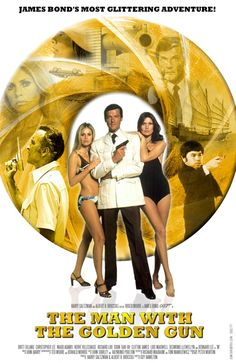 The Man with the Golden Gun starring Roger Moore movie poster.