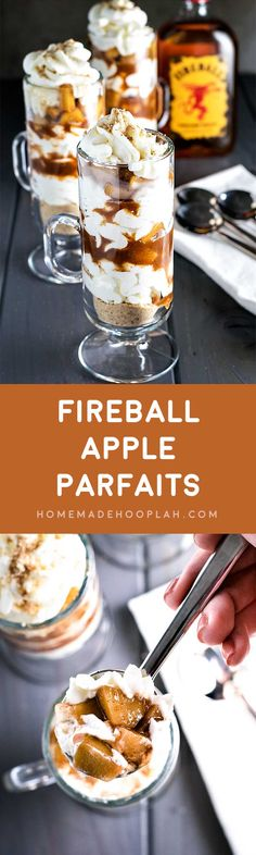 Fireball Apple Parfaits! Fireball Whisky, apple, cinnamon, and caramel come together to make this cool, creamy, and tipsy treat. Perfect for parties all year round! | HomemadeHooplah.com