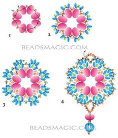 Free pattern for pendant Rumba - 2.  U need:    rondelle beads 6-8 mm    seed beads 11/0    seed. beads 8/0    twin seed beads by Nadiaxx