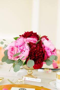 Dark red and pink peony table centerpieces | Florals: Butter & bloom | Nikki Closser Photography