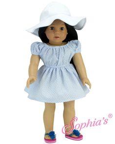 Blue Seersucker Summer Dress & Hat Set by Sophia's