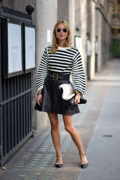 Look de Pernille, Leather and Stripes | #LFW Street Style