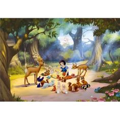 Kids Bedroom Ideas with Disney Snow white Wall Murals Mural Da Disney, Disney Wall Murals, Kids Wall Murals, Murals For Kids, Mural Wall, Forest Wallpaper, Photo Wallpaper, Wall Wallpaper, Wallpaper Stickers