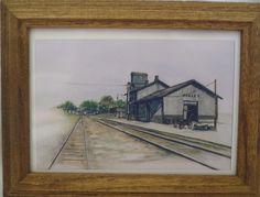 NEW ACKLEY IOWA DEPOT 1920 TRAIN PRINT BY IOWA ARTIST COLLEEN J. CARSON